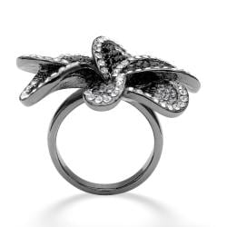 PalmBeach Black Ruthenium Crystal Flower Ring Bold Fashion - Thumbnail 1