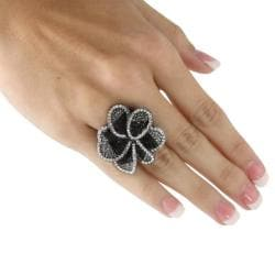 PalmBeach Black Ruthenium Crystal Flower Ring Bold Fashion - Thumbnail 2