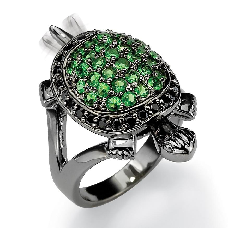 Black Rhodium-Plated Green Crystal and Black Cubic Zirconia Turtle Ring