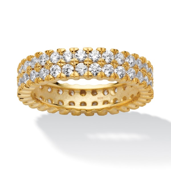 2.11 TCW Round Cubic Zirconia 18k Gold over Sterling Silver Double Row Eternity Band Class