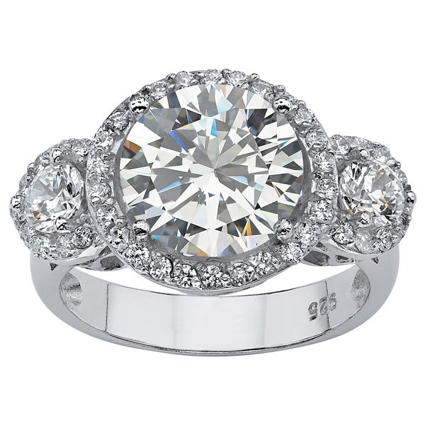 4.90 TCW Round Cubic Zirconia Platinum over Sterling Silver Bridal Anniversary Ring Glam C