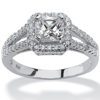 1.63 TCW Princess-Cut Cubic Zirconia Engagement Ring in Platinum over Sterling Silver Clas