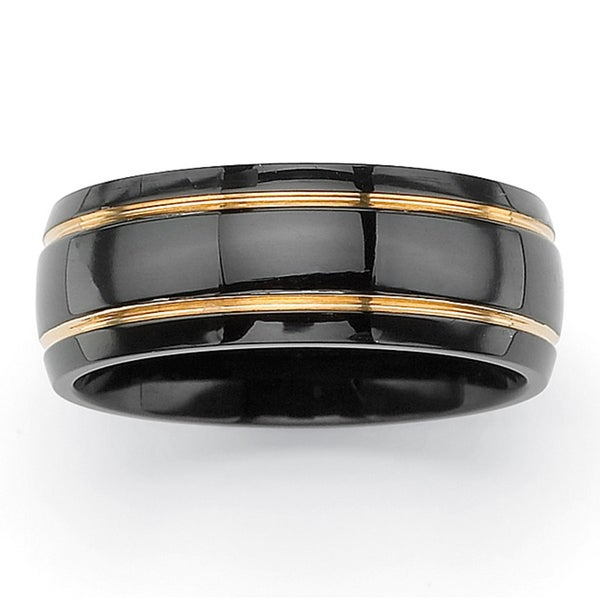 PalmBeach Grooved Wedding Band in Black Ion-Plated Stainless Steel with Golden Accents Tailored