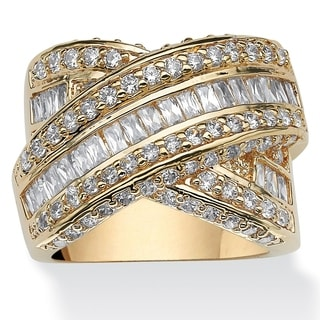 3.64 TCW Baguette Cut Cubic Zirconia 14k Yellow Gold-Plated Crossover Ring Glam CZ