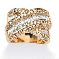 PalmBeach 3.64 TCW Baguette Cut Cubic Zirconia 14k Yellow Gold-Plated Crossover Ring Glam CZ