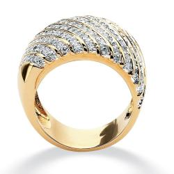 1.88 TCW Round Cubic Zirconia 14k Yellow Gold-Plated Diagonal Row Band Glam CZ - Thumbnail 1