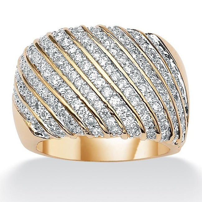 1.88 TCW Round Cubic Zirconia 14k Yellow Gold-Plated Diagonal Row Band Glam CZ