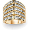 "PalmBeach 2.40 TCW Princess-Cut Cubic Zirconia 14k Gold-Plated ""V"" Anniversary Band Glam CZ"