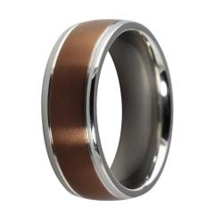 Neno Buscotti Stainless Steel Men's Brown-plated Clear Cubic Zirconia Ring - Thumbnail 1