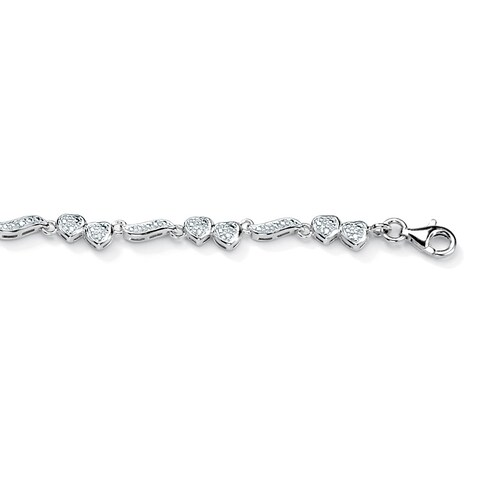1/8 TCW Round Diamond Accented Heart and Wings Ankle Bracelet in Platinum over Sterling Si