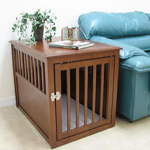 Crown Pet Medium Mahogany Furniture Pet Crate End Table