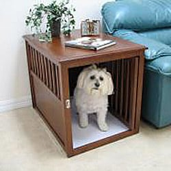Crown Pet Medium Mahogany Furniture Pet Crate End Table - Thumbnail 1