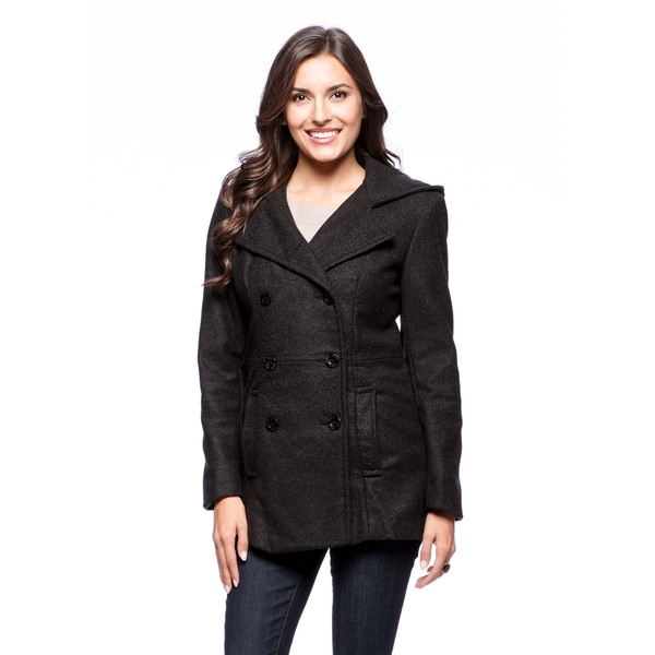 Trendz Women&39s Charcoal Wool-blend Hooded Peacoat - Free Shipping