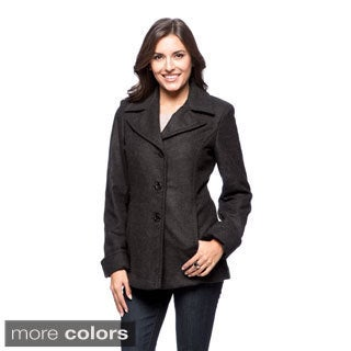 Trendz Women's Wool-blend Notched Collar Coat