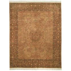 Asian Hand-knotted Royal Kerman Beige and Brown Wool Rug (6' x 9')