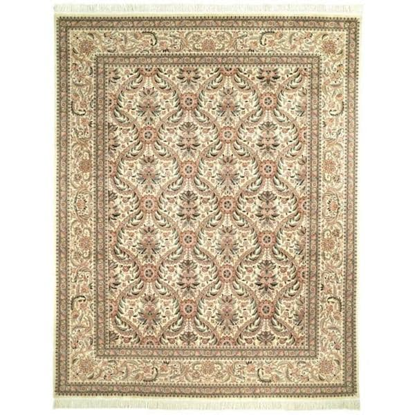 Handmade Asian Hand-knotted Royal Kerman Ivory Wool Floral Rug - 9' x 12'