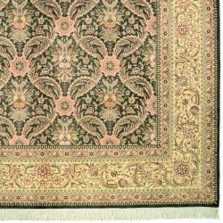 Asian Hand-knotted Royal Kerman Green and Ivory Wool Rug (4' x 6') - Thumbnail 1