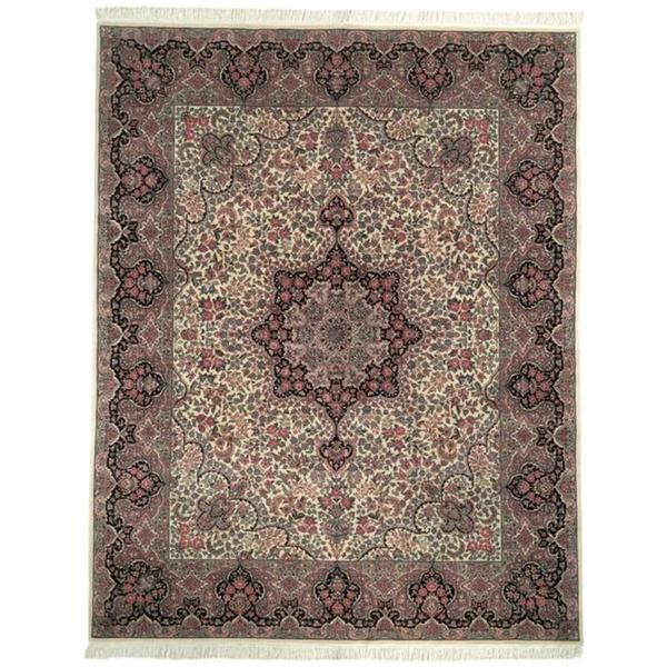 Safavieh Couture Royal Kerman Hand-Knotted Ivory/ Navy Wool Area Rug - 9' x 12'