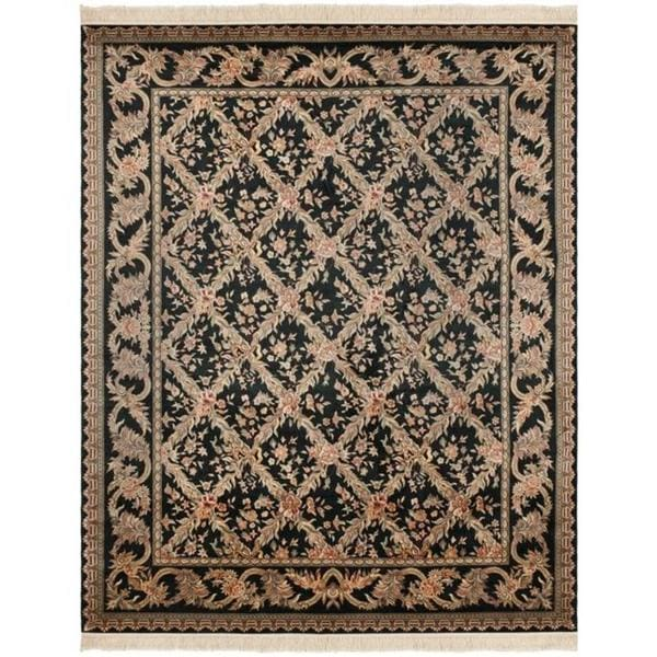 Safavieh Couture Royal Kerman Hand-Knotted Black/ Multi Trellis Wool Area Rug (6' x 9')