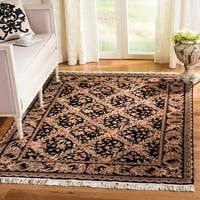 Safavieh Couture Royal Kerman Hand-Knotted Black/ Multi Trellis Wool Area Rug - 9' x 12'