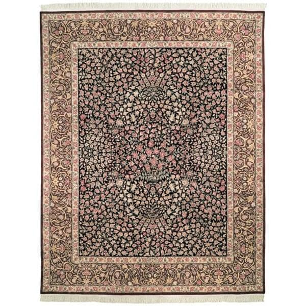 Handmade Safavieh Couture Royal Kerman Black/ Red Wool Area Rug - 8' x 10' (China)