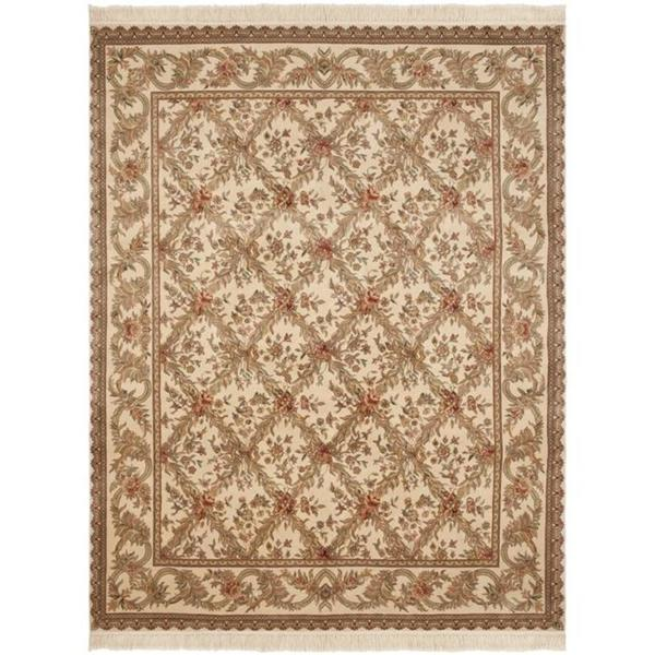 Safavieh Couture Royal Kerman Hand-Knotted Ivory/ Multi Trellis Wool Area Rug - 8' x 10'