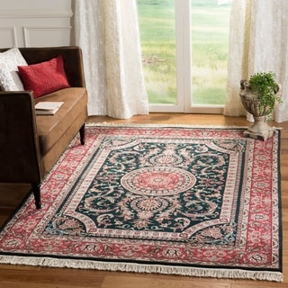 Asian Hand-knotted Royal Kerman Green and Red Wool Rug (6' x 9')