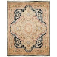 Safavieh Couture Royal Kerman Hand-Knotted Black/ Ivory Wool Area Rug (6' x 9')