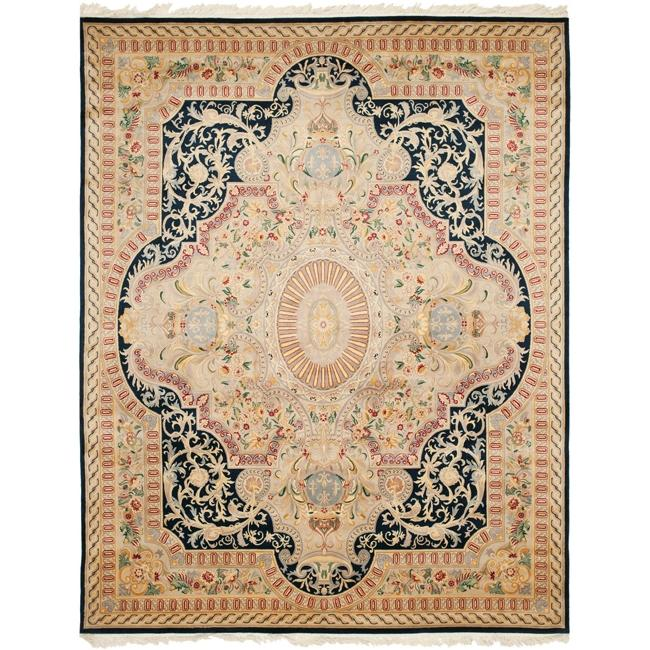 Asian Hand-knotted Royal Kerman Black/ Ivory Wool Rug (8' x 10')