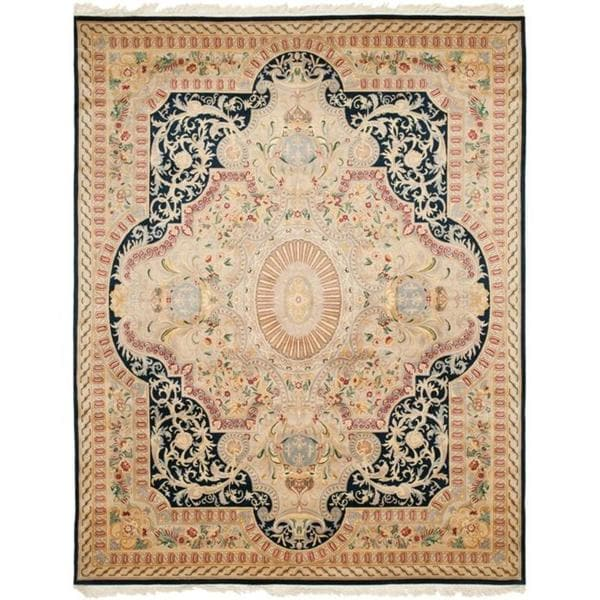 Safavieh Couture Royal Kerman Hand-Knotted Black/ Ivory Wool Area Rug (8' x 10')