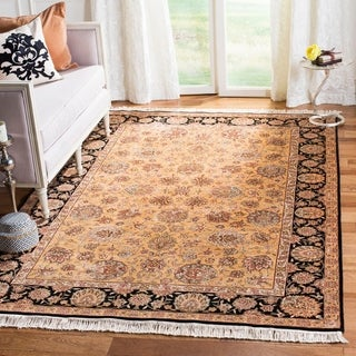 Safavieh Couture Royal Kerman Hand-Knotted Beige/ Black Wool Area Rug (6' x 9')