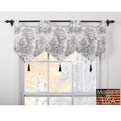 Plymouth Ivory/ Black Banner Valances (Set of 3)