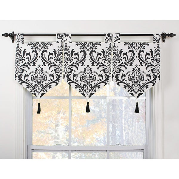 Shop Arbor Ivory/Black Banner Valances (Set of 3) - Free Shipping ...