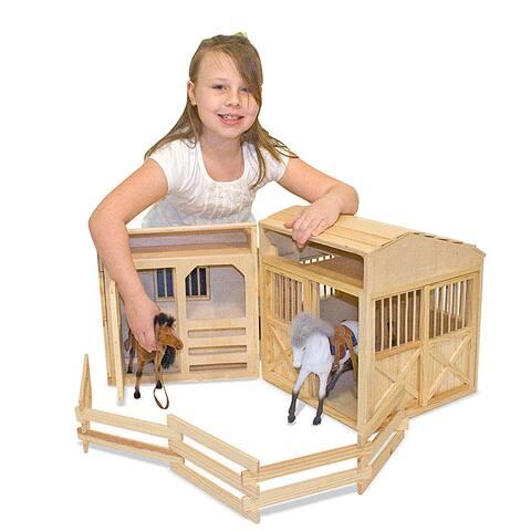 Melissa & Doug Folding Horse Stable Play Set - brown
