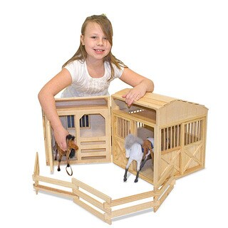 Melissa & Doug Folding Horse Stable Play Set - Brown