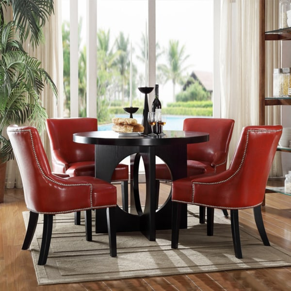 Shop Westmont 5 Piece Hot Red Faux Leather Dining Set