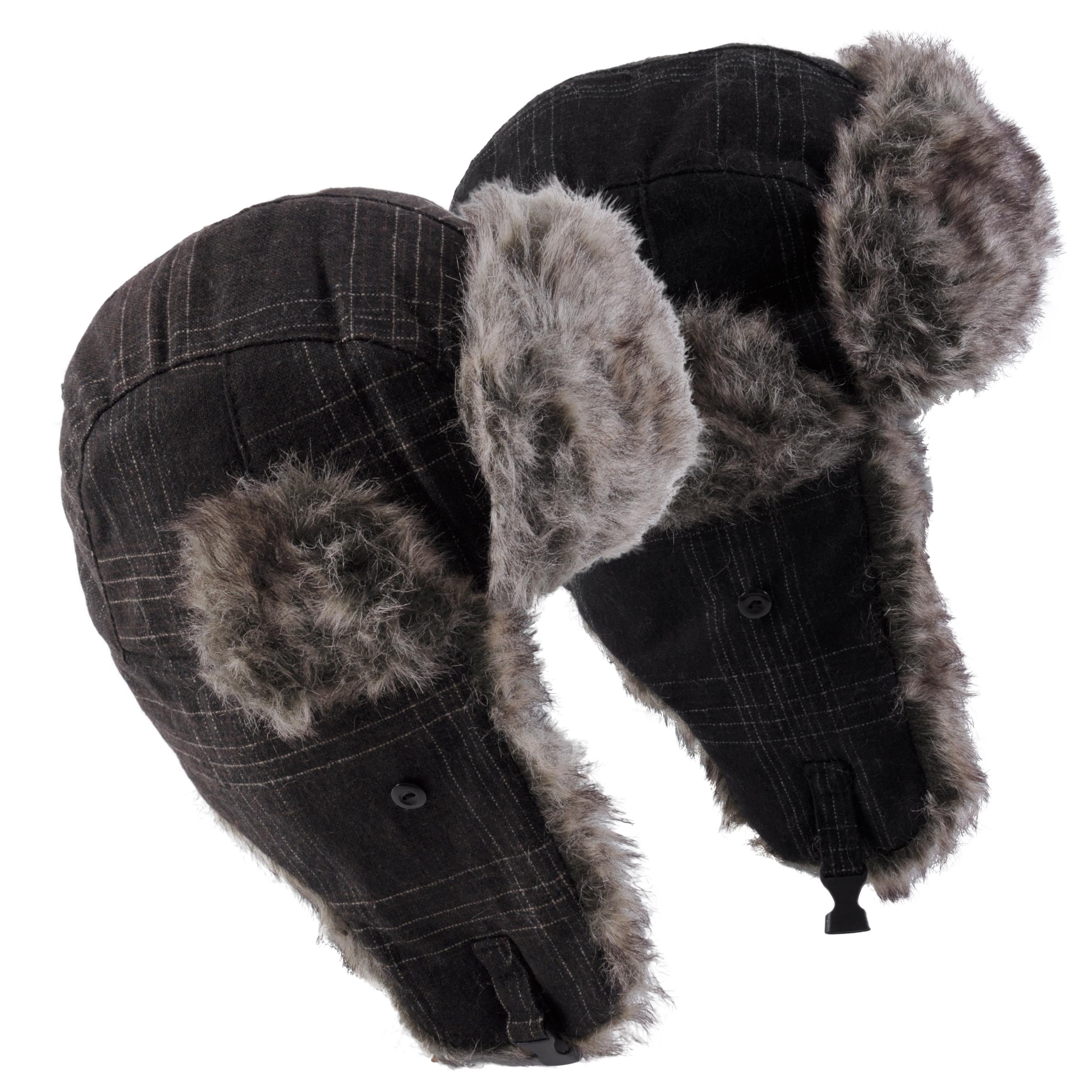 Hailey Jeans Co. Women's Plaid Faux Fur Trim Aviator Cap