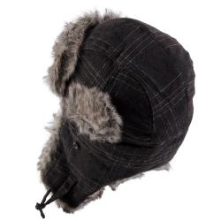 Hailey Jeans Co. Women's Plaid Faux Fur Trim Aviator Cap - Thumbnail 1