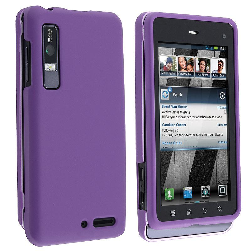 INSTEN Purple Snap-on Rubber Coated Phone Case Cover for Motorola Droid 3 XT862