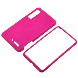 Hot Pink Snap-on Rubber Coated Case for Motorola Droid 3 XT862 - Thumbnail 2