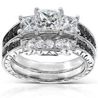 Annello by Kobelli 14k White Gold 1 3/5ct TDW Black and White Diamond Bridal Ring Set