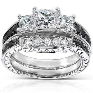Annello by Kobelli 14k White Gold 1 3/5ct TDW Black and White Diamond Bridal Ring Set