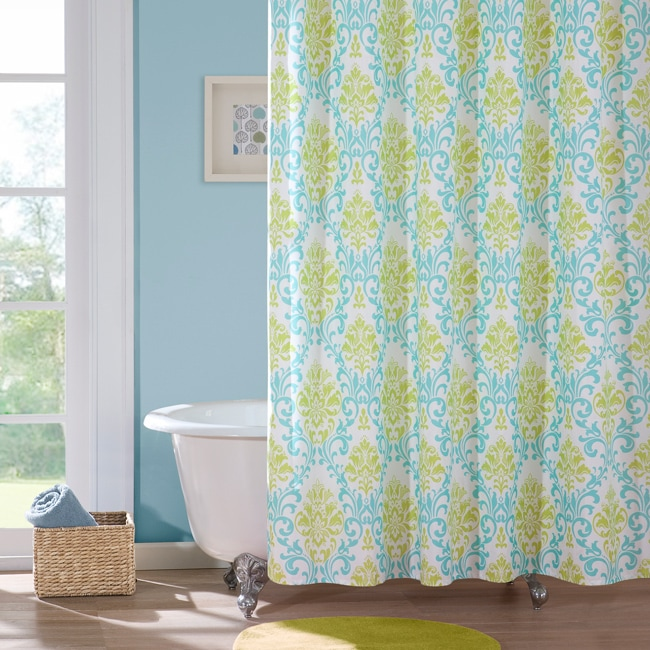 Paige Apple-green/Teal Damask-pattern Polyester Shower Curtain ...