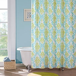 Paige Apple-green/Teal Damask-pattern Polyester Shower Curtain