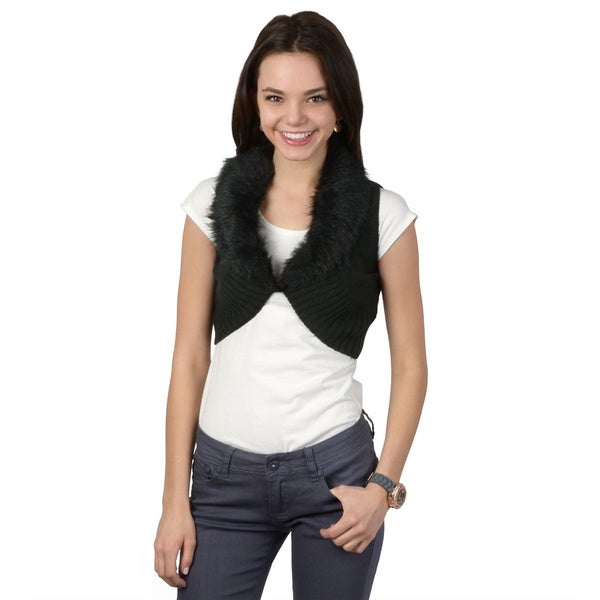 Hailey Jeans Co. Juniors Faux Fur Collar Cropped Bolero Sweater