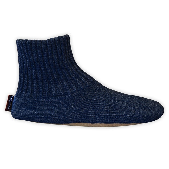 Navy Muk Luks Men's Ragg Wool Slipper Socks - Thumbnail 0