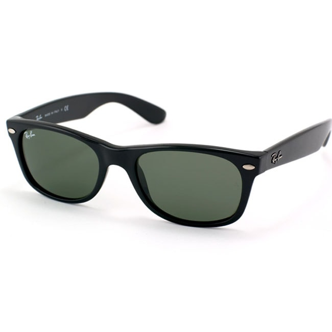 ray ban unisex large wayfarer sunglasses  ray ban new wayfarer rb2132 unisex black frame green lens sunglasses