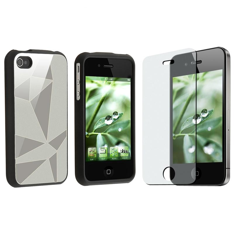 INSTEN Silver Triangle Aluminum Phone Case Cover/ Screen Protector for Apple iPhone 4
