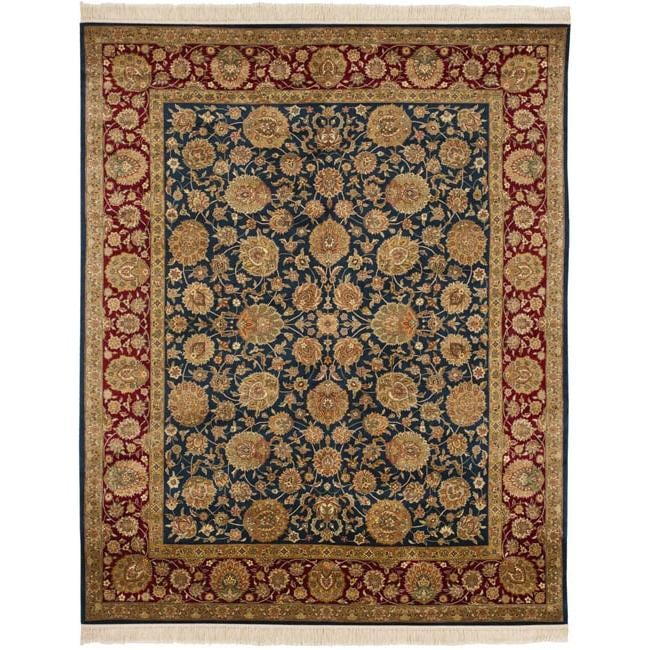 Asian Hand-Knotted Royal Kerman Blue and Red Traditional Wool Rug (6' x 9')