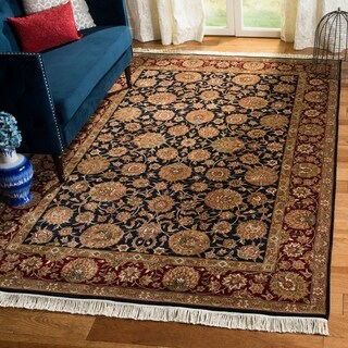 Handmade Safavieh Couture Royal Kerman Blue/ Red Wool Area Rug (China) - 9' x 12'